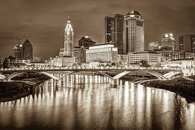 Architecture Photograph - Columbus Ohio Downtown Skyline In Sepia by Gregory Ballos