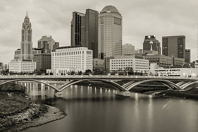Photograph - Columbus Ohio Downtown Skyline Sepia by Gregory Ballos