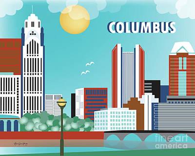 Columbus Ohio Horizontal Skyline Art Print