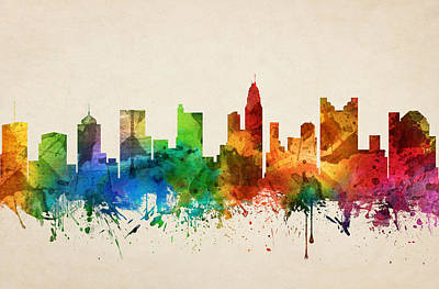 Rainbow Colors Painting - Columbus Ohio Skyline 05 by Aged Pixel
