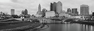 Photograph - Columbus Ohio Skyline At Dusk Black And White Panoramic by Gregory Ballos