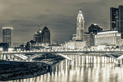 Photograph - Columbus Ohio Skyline In Sepia by Gregory Ballos