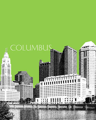Pen Digital Art - Columbus Ohio Skyline - Olive by DB Artist