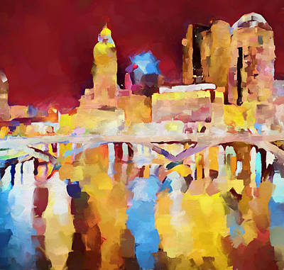 Painting - Columbus Ohio Skyline Reflection by Dan Sproul