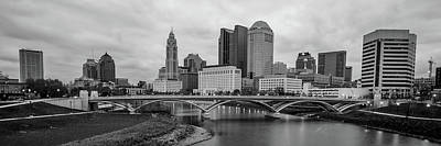 Photograph - Columbus Ohio Skyline Riverfront Panorama - Black And White by Gregory Ballos