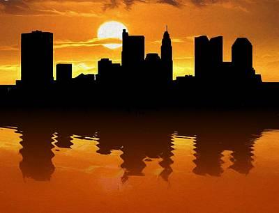 Columbus Ohio Skyline Sunset Reflection Art Print
