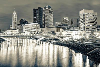 Columbus Sepia City Skyline At Night  Art Print