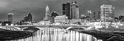 Photograph - Columbus Skyline At Night Black And White Panorama - Ohio City Photography by Gregory Ballos