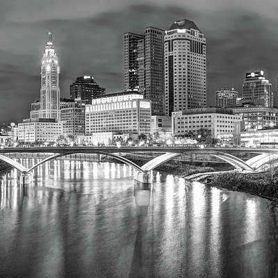 Photograph - Columbus Skyline Black And White Art - Square 1x1 by Gregory Ballos