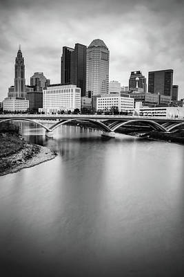 Photograph - Columbus Skyline Contrast - Black And White by Gregory Ballos