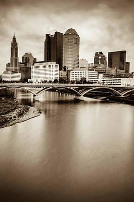 Photograph - Columbus Skyline Contrast - Sepia by Gregory Ballos