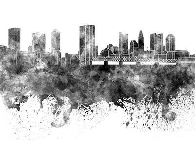 Ohio Painting - Columbus Skyline In Black Watercolor On White Background by Pablo Romero
