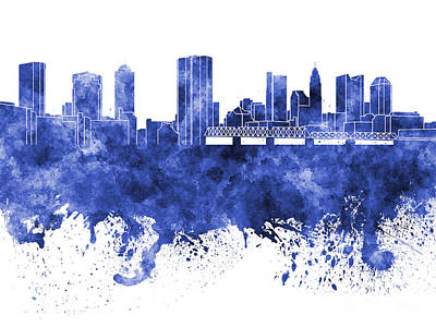 Ohio Painting - Columbus Skyline In Blue Watercolor On White Background by Pablo Romero