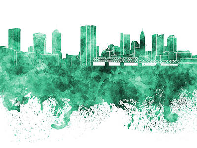 Ohio Painting - Columbus Skyline In Green Watercolor On White Background by Pablo Romero