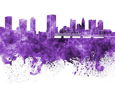 Ohio Painting - Columbus Skyline In Purple Watercolor On White Background by Pablo Romero