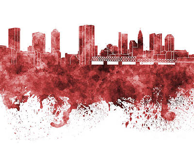 Ohio Painting - Columbus Skyline In Red Watercolor On White Background by Pablo Romero