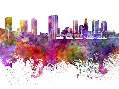 Ohio Painting - Columbus Skyline In Watercolor On White Background by Pablo Romero