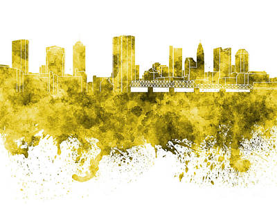 Ohio Painting - Columbus Skyline In Yellow Watercolor On White Background by Pablo Romero