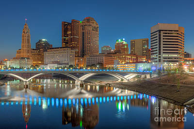 Photograph - Columbus Skyline Morning Twilight I by Clarence Holmes