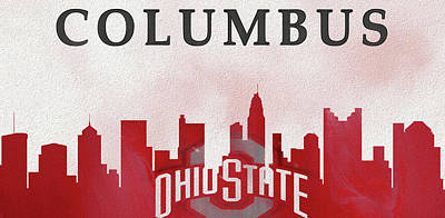 Mixed Media - Columbus Skyline Ohio State Buckeyes by Dan Sproul