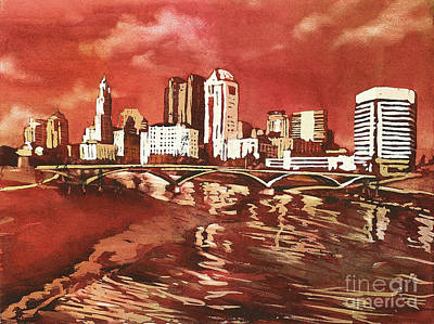 Painting - Columbus Skyline Osu Colors by Ryan Fox