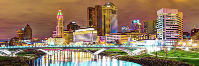 Print featuring the photograph Columbus Skyline Panorama Color - Ohio Usa by Gregory Ballos