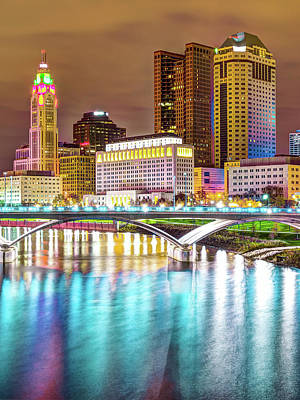 Urban Scene Photograph - Columbus Skyline Reflecting On Blue Waters by Gregory Ballos