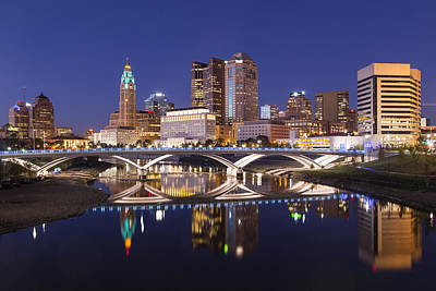 Photograph - Columbus Skyline Reflection by Alan Raasch