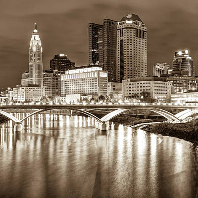 Photograph - Columbus Skyline Sepia Art - Square 1x1 by Gregory Ballos