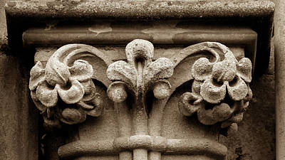 Photograph - Column Capital A West Facade Of Wells Cathedral by Jacek Wojnarowski