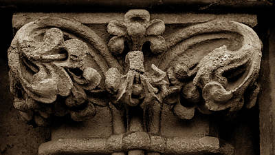 Photograph - Column Capital B West Facade Of Wells Cathedral by Jacek Wojnarowski