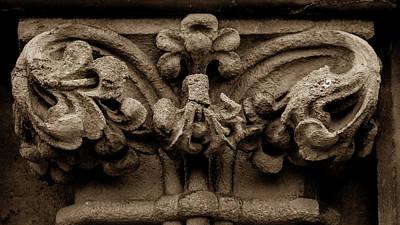 Photograph - Column Capital B West Facade Of Wells Cathedral by Jacek Wojnarowski