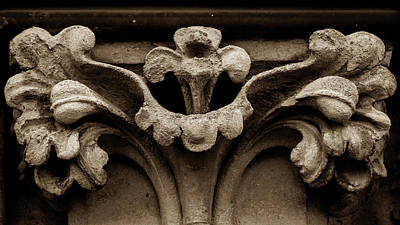 Photograph - Column Capital C West Facade Of Wells Cathedral by Jacek Wojnarowski