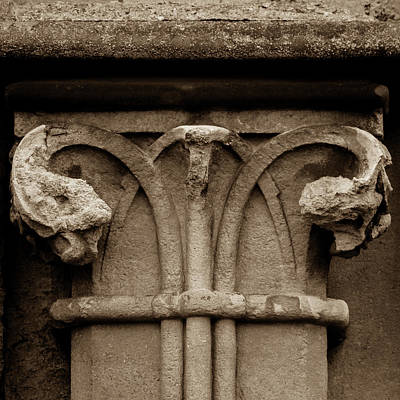 Photograph - Column Capital E West Facade Of Wells Cathedral by Jacek Wojnarowski