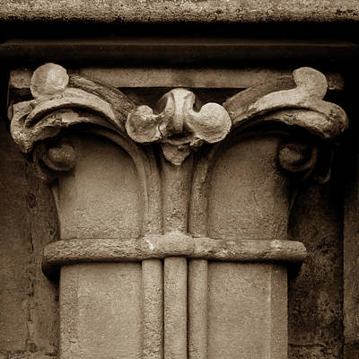 Photograph - Column Capital F West Facade Of Wells Cathedral by Jacek Wojnarowski