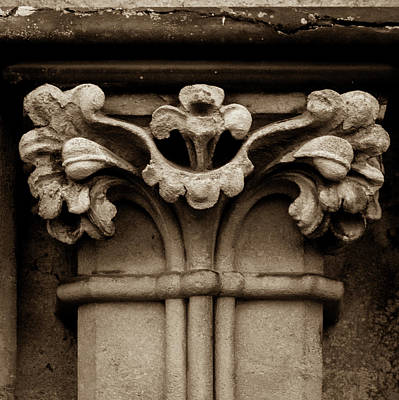Photograph - Column Capital G West Facade Of Wells Cathedral by Jacek Wojnarowski