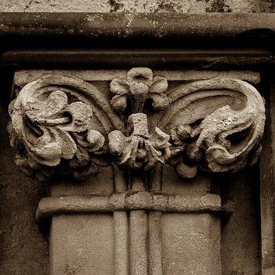 Photograph - Column Capital H West Facade Of Wells Cathedral by Jacek Wojnarowski