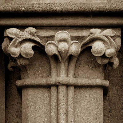 Photograph - Column Capital I West Facade Of Wells Cathedral by Jacek Wojnarowski