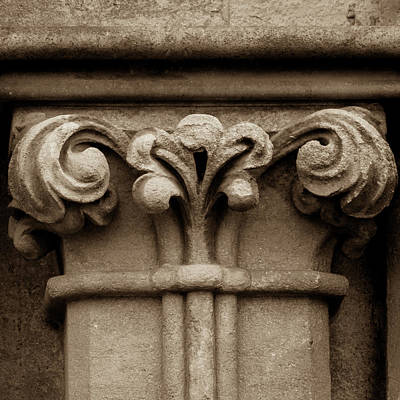Photograph - Column Capital J West Facade Of Wells Cathedral by Jacek Wojnarowski