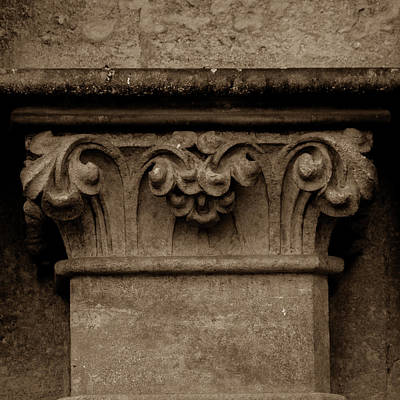 Photograph - Column Capital L West Facade Of Wells Cathedral by Jacek Wojnarowski