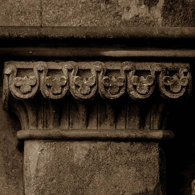 Photograph - Column Capital M West Facade Of Wells Cathedral by Jacek Wojnarowski