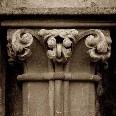 Photograph - Column Capital N West Facade Of Wells Cathedral by Jacek Wojnarowski