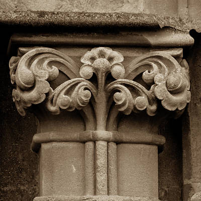 Photograph - Column Capital Q West Facade Of Wells Cathedral by Jacek Wojnarowski