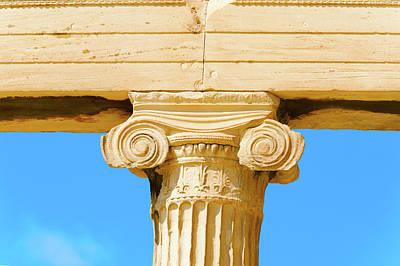 Photograph - Column Close Up Acropolis, Greece. by Marek Poplawski