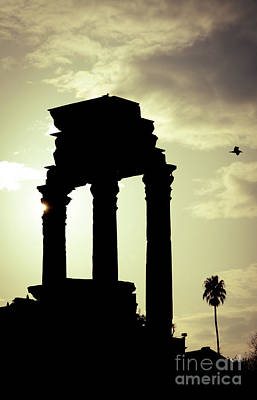 Column Sunset Temple Of Castor And Pollux In The Forum Rome Italy Print by Andy Smy