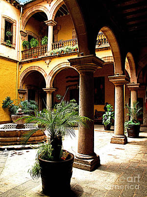 Patzcuaro Photograph - Columns And Courtyard by Mexicolors Art Photography