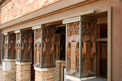 Artist Working Photograph - Columns At Frank Lloyd Wright Studio by James Kirkikis