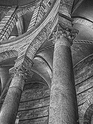 Photograph - Columns Black And White by Diana Haronis