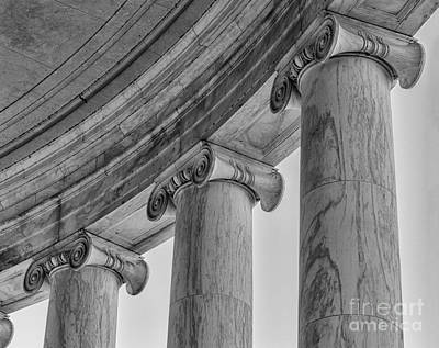 Washington D.c Digital Art - Columns Detail Jefferson Memorial Bw by Jerry Fornarotto