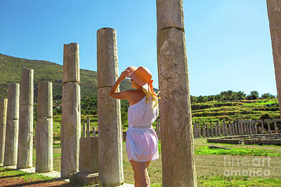 Photograph - columns of Ancient Messene by Benny Marty